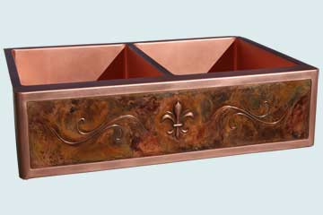 Custom Copper Repousse Apron Sinks # 2969